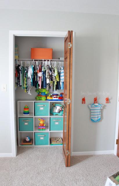 organizing nursery closet