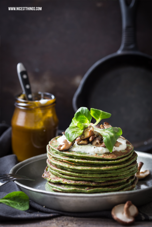 Gesunde Pfannkuchen Rezept herzhaft mit Spinat