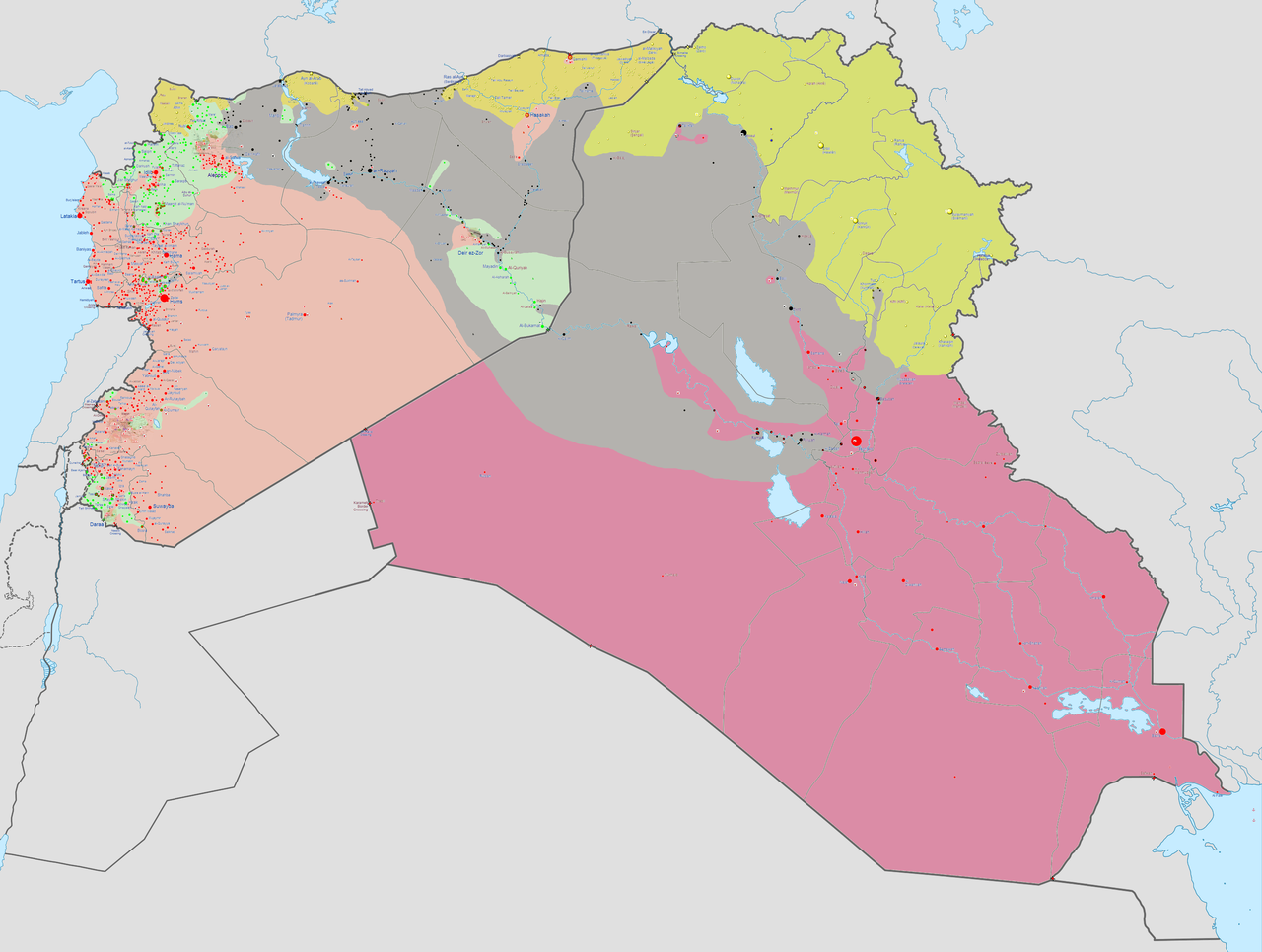 Syrien Irak Karte.Landkartenblog Landkarte Des Machtgebiets Der Isis Rebellen In