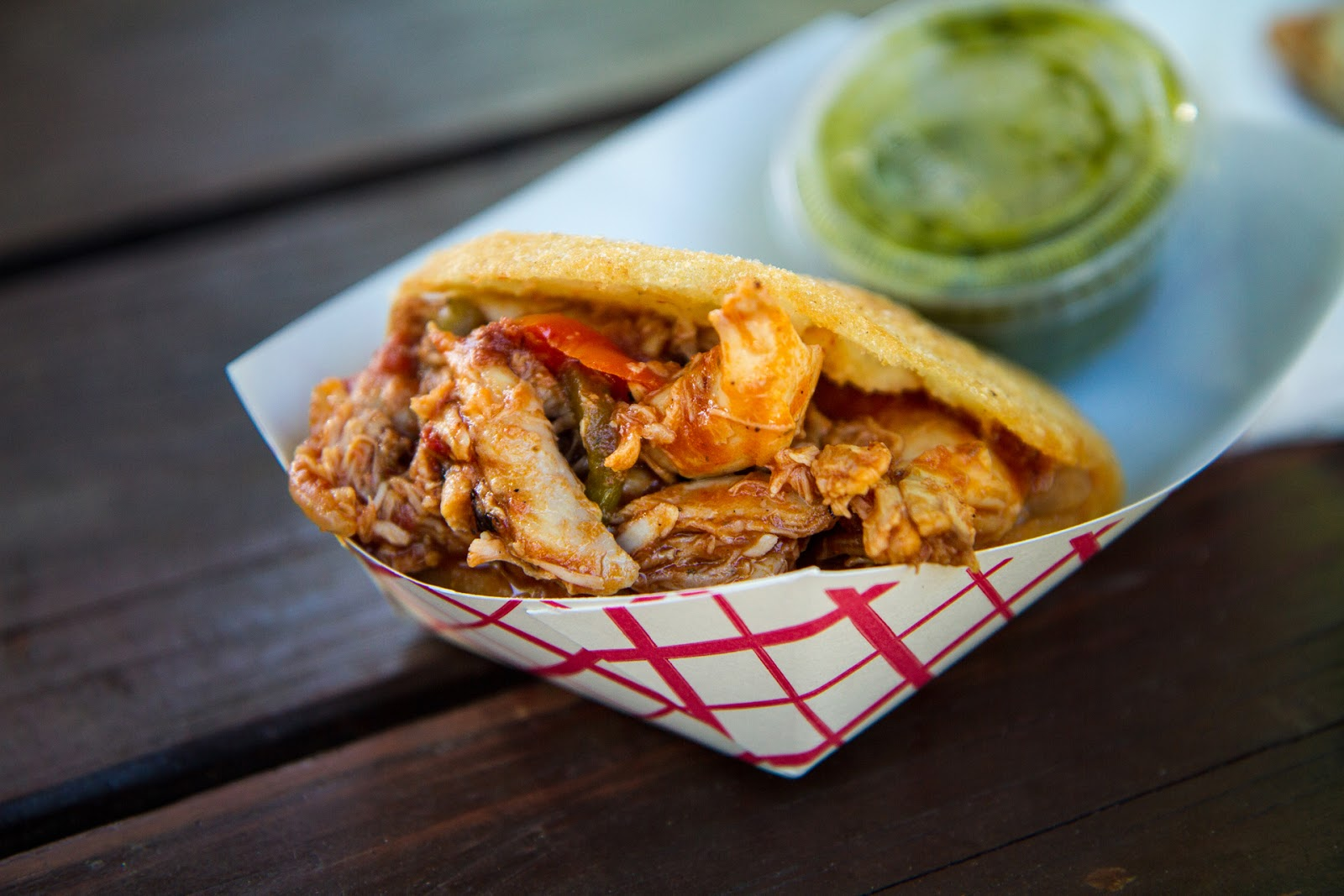 Local Food Rocks: Valencia Luncheria Chicken Tamarillo Arepa