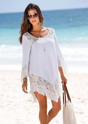 vestidos playeros color blanco