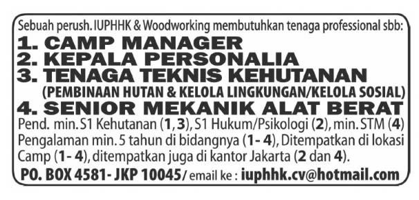 Lowongan kerja Senior Mekanik Alat Berat koran kompas sabtu 16 Agustus 2013 - LowonganKompas