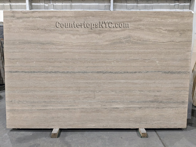 Silver Travertine Honed Slabs NYC