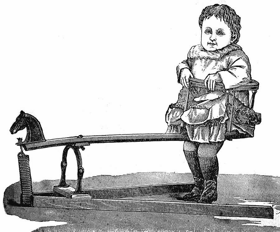 An 1883 child's horsie jumper toy from a Canadian catalog, an illustration