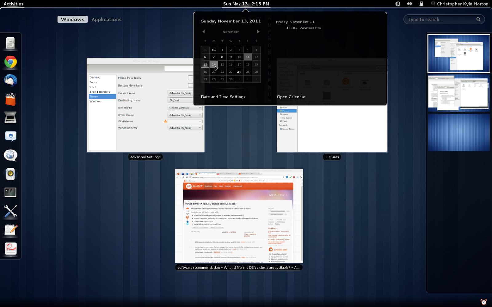 Gnome Shell Desktop Environment