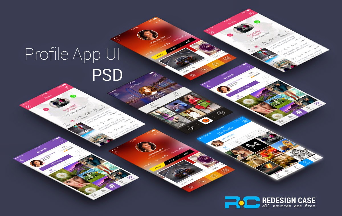 5 App Profile UI PSD