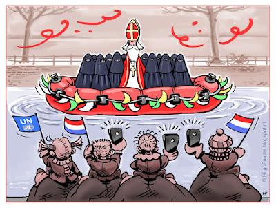cartoon Sinterklaas intocht met rubberboot en nieuwe ISlam Zwarte Pieten in Burka