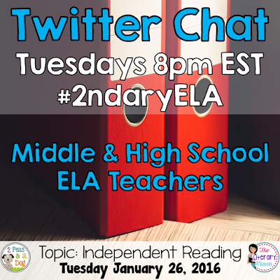 Join secondary English Language Arts teachers Tuesday evenings at 8 pm EST on Twitter. This week's chat will focus on independent reading.