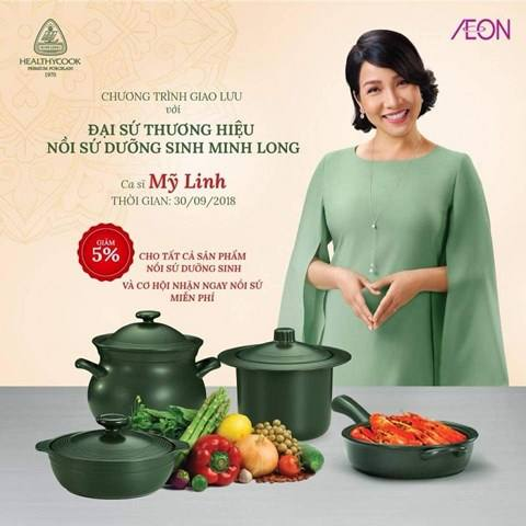 Hình ảnh ca sỹ Mỹ Linh quảng bá cho thương hiệu Minh Long
