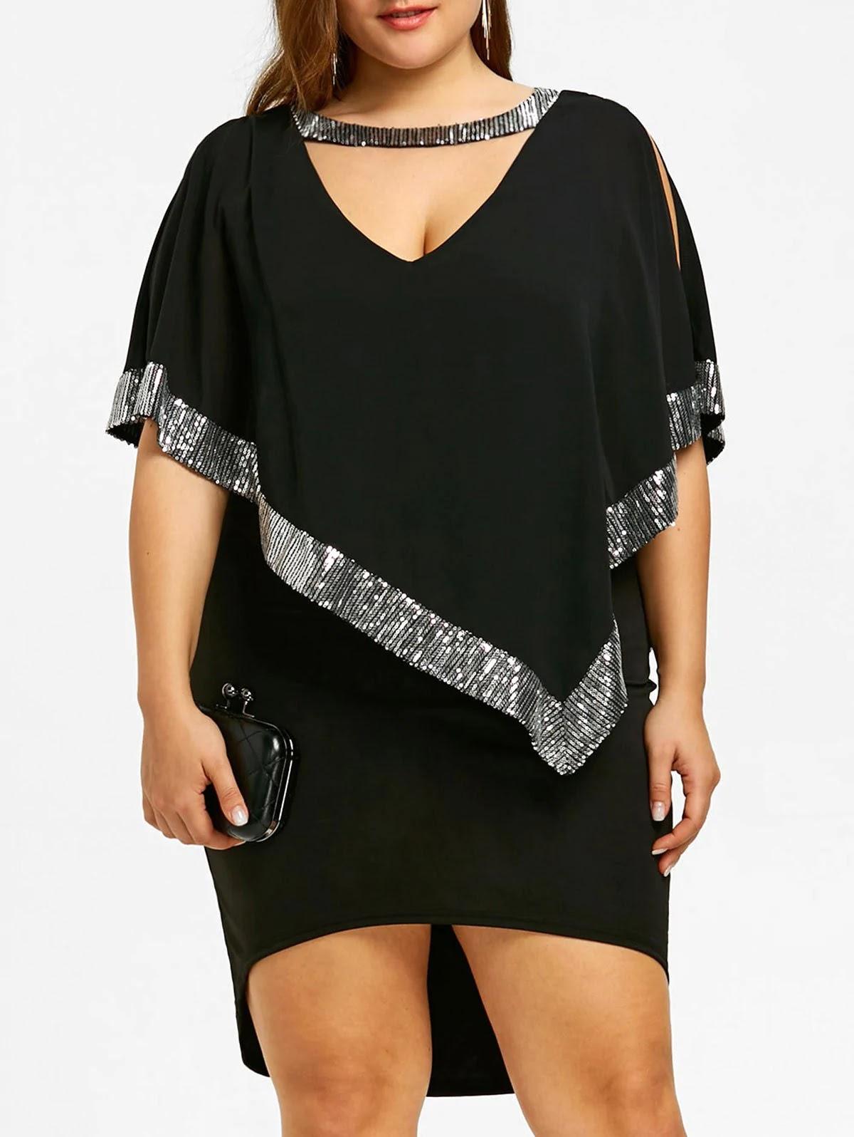 Plus Size Sparkly Capelet Dress