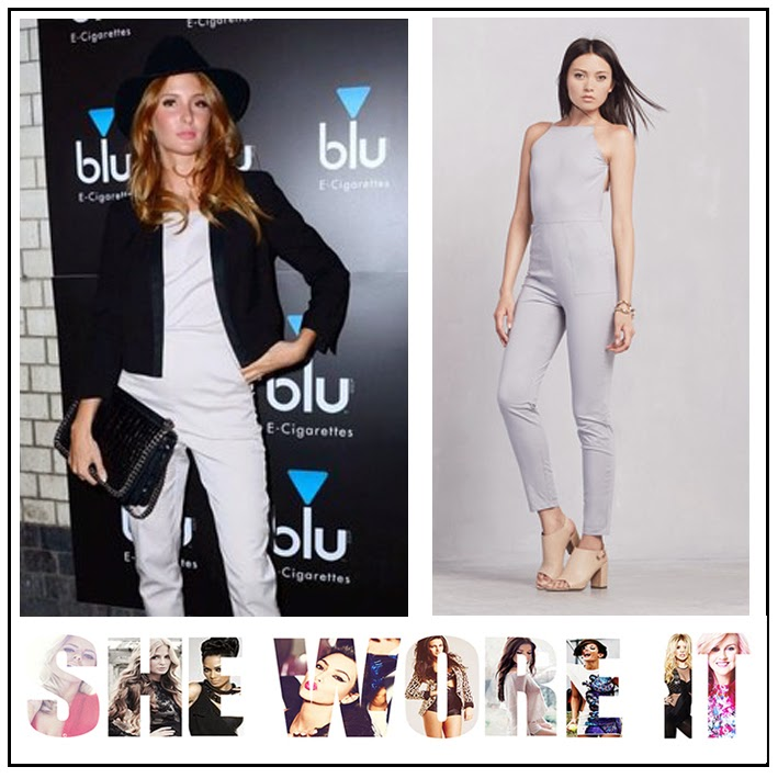 Millie Mackintosh, The Reformation, Pale Grey, Tailored, Fitted, Jumpsuit, Halter-Neck, Racer Back Detail