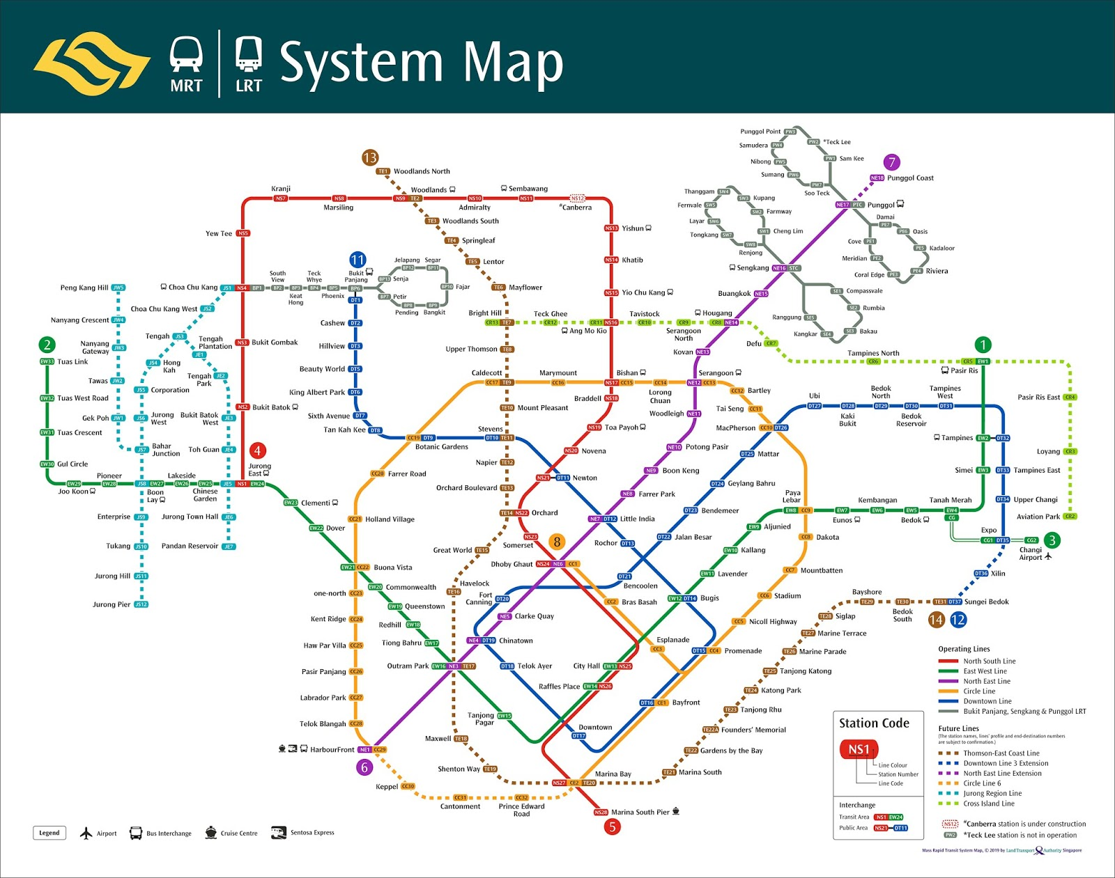 Singapore Subway Map 2014.Latest Mrt Map In New Design With Future Lines Downtown Line