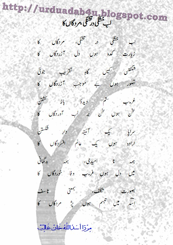 URDU ADAB: Lab-E-Khushki Dar Tishnagi, Mardgaan Ka