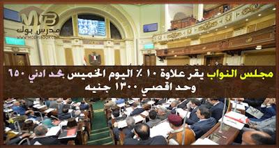 مجلس النواب يقر علاوة 10 % اليوم الخميس بحد ادني 650 وحد اقصي 1300 جنيه