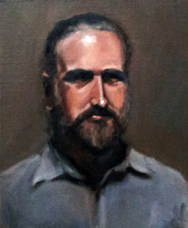 Oil painting of a middle-aged bearded man wearing a blue shirt.
