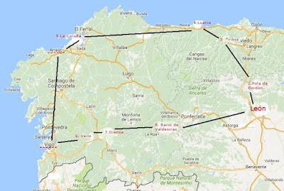 Mapa en el que se señala el itinerario del viaje que realiza Rosario de Acuña en el verano de 1887
