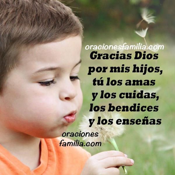 imagen con bonita oracion de gracias Dios por mis hijos oraciones de proteccion