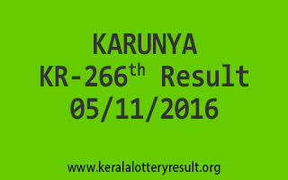 KARUNYA KR 266 Lottery Results 5-11-2016