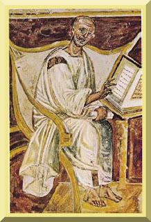 The earliest portrait of Saint Augustine in a 6th century fresco, Lateran, Rome. PD-1923