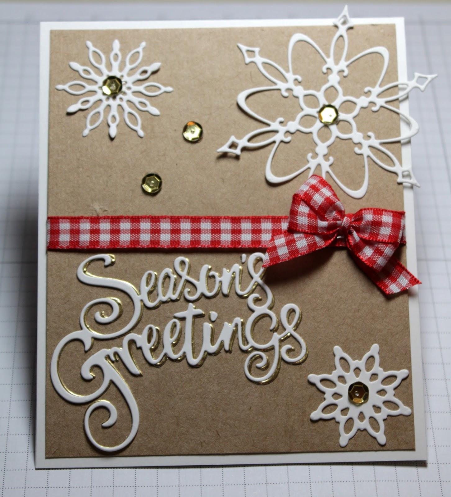 CottageCutz SEASON/'S GREETINGS w// SNOWFLAKES Metal Die CC-352 Christmas