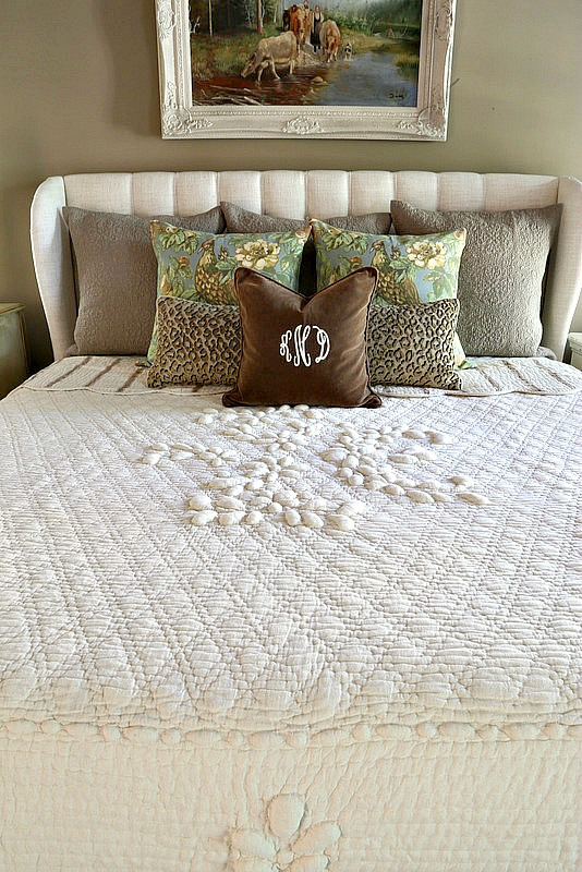 Ideal I used a variety of pillows from my stash The classic monogrammed pillow is from Ballard us and old