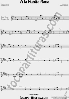 A la Nanita Nana  Partitura de Saxofón Soprano y Saxo Tenor Sheet Music for Soprano Sax and Tenor Saxophone Music Scores