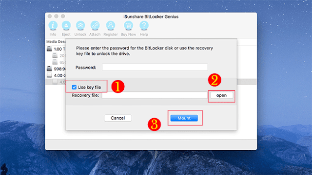 Open BitLocker drive on Mac with recovery key file