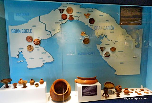 Achados arqueológicos do povo Cueva, no Museu da Plaza Mayor de Panamá Viejo