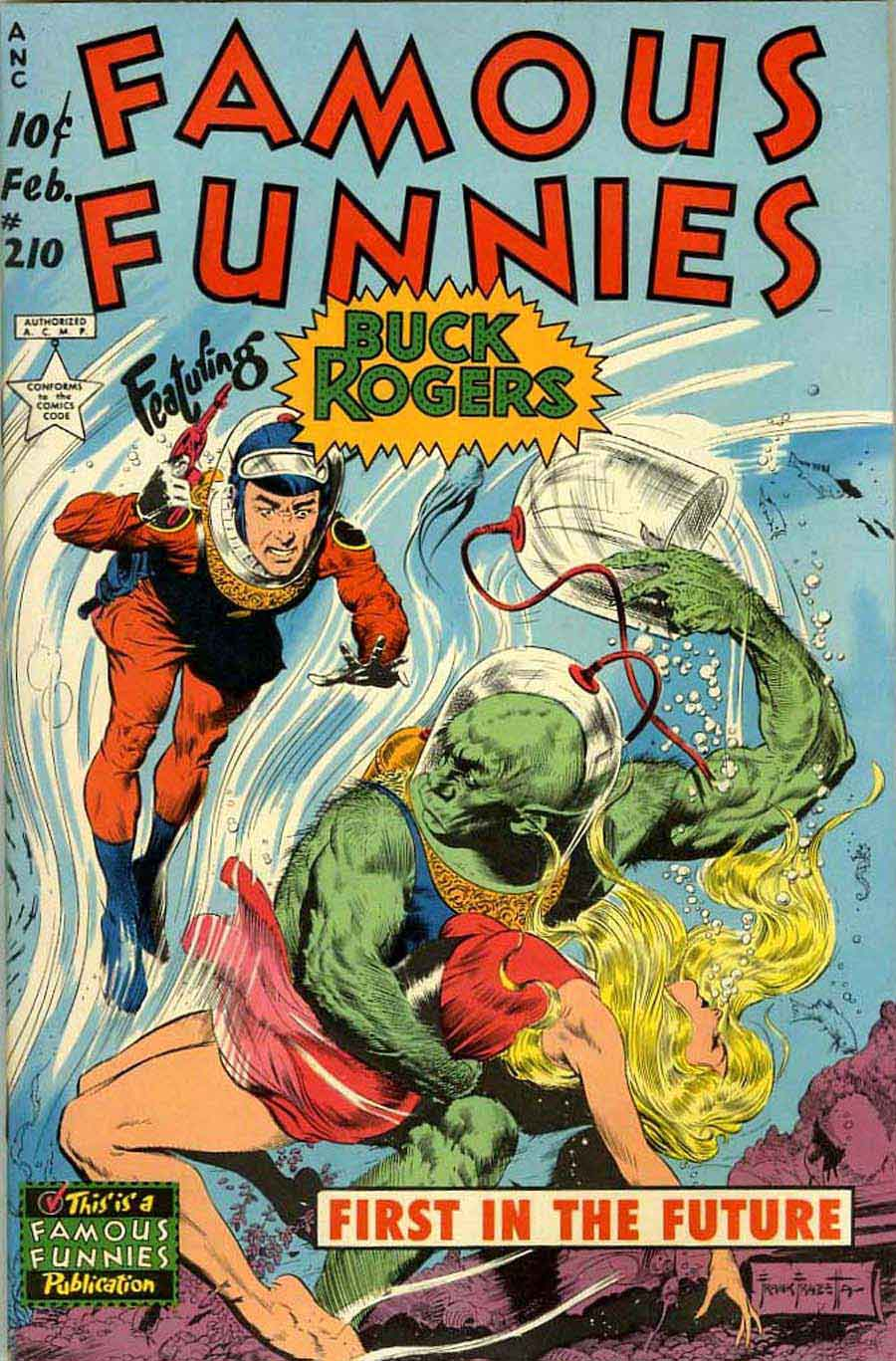 Frank Frazetta Buck Rogers 1950s golden age science fiction comic book cover / Famous Funnies #210