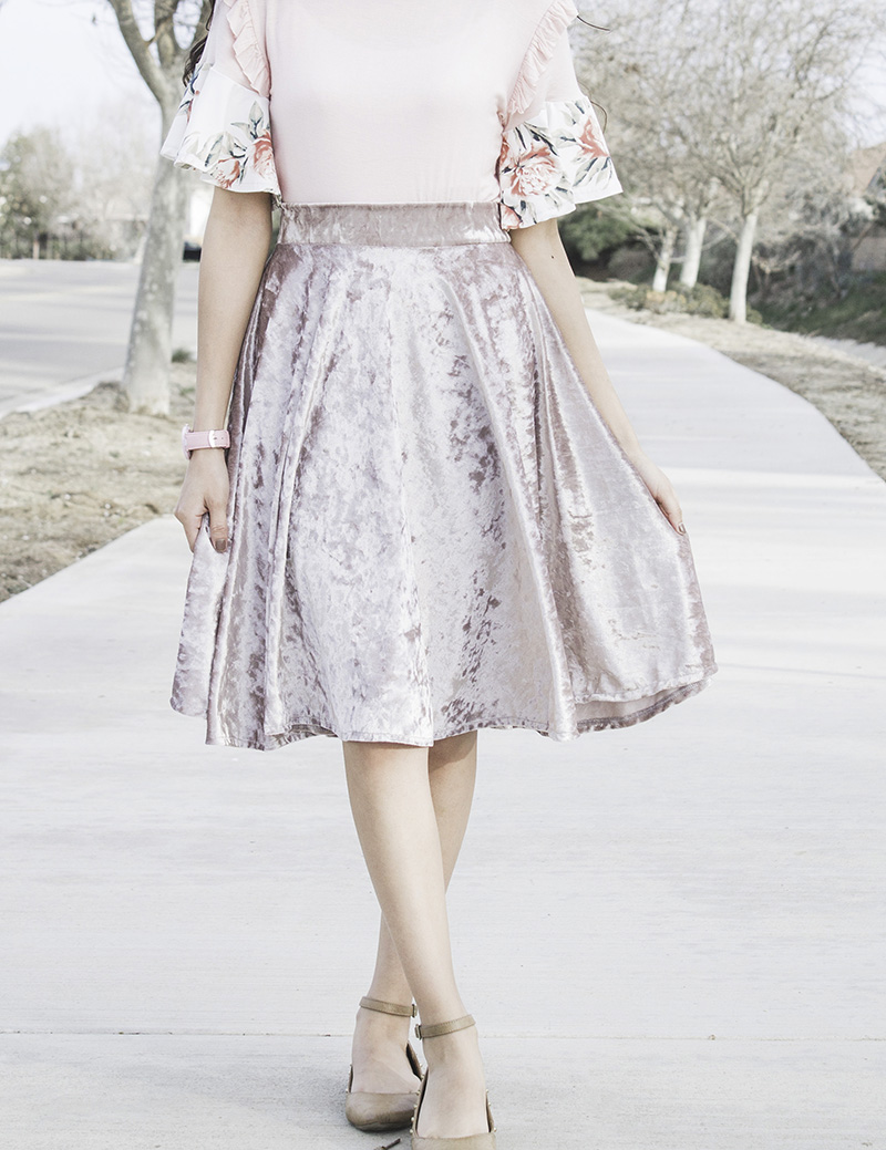 modest crushed velvet circle skirt