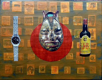Heidegger wristwatch watch flag east asian art history face jug J&B rare whisky bottle ad postage stamp Dada Fluxus collage