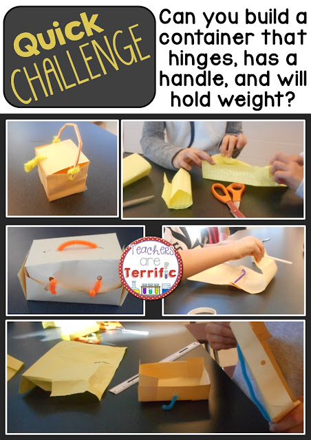STEM Quick Challenge: Easy prep and easy materials will have your students designing and building a container with some challenging rules. Can it hold weight? Can it close and latch? Amazing!