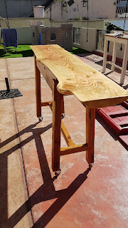 Bar table of cypress wood