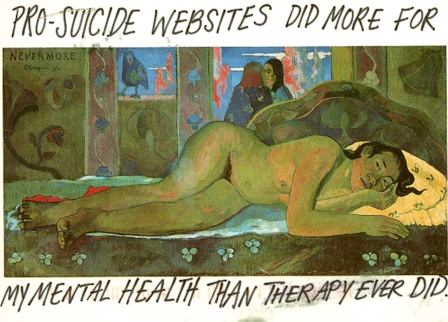 Pro-suicide websites did more for my mental health than therapy ever did.
