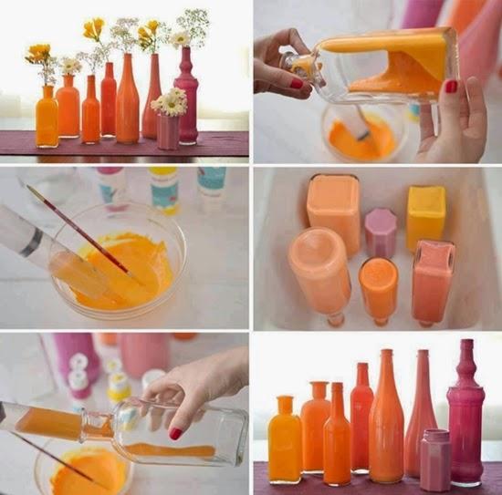 como pintar garrafas vidro
