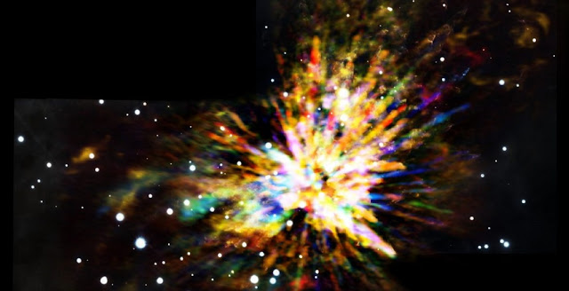 Composite image of the OMC-1 cloud in Orion showing the sometimes explosive nature of star birth, when several young stars were ejected from the region about 500 years ago. The colors in the ALMA data represent the relative Doppler shifting of the millimeter-wavelength light emitted by carbon monoxide gas. The ALMA image is combined with a near infrared image from the Gemini South telescope showing shock waves produced by the explosion. Credit: ALMA (ESO/NAOJ/NRAO), J. Bally; B. Saxton (NRAO/AUI/NSF); Gemini Observatory/AURA