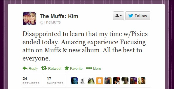 "Kim Stattuck's ""Pixies Days"" are Officially Over- Will Kim Deal Re-Join? Will The Pixies be ""Whole"" Again?"