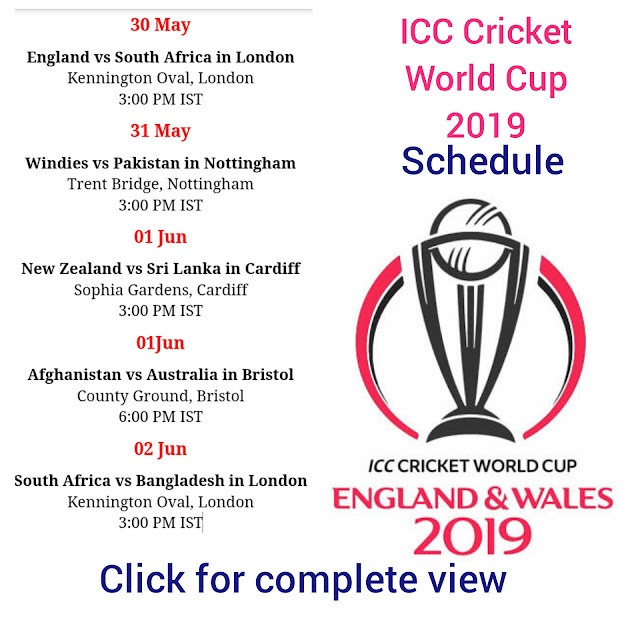 World cup 2019 schedule time table , cricket world cup schedule image