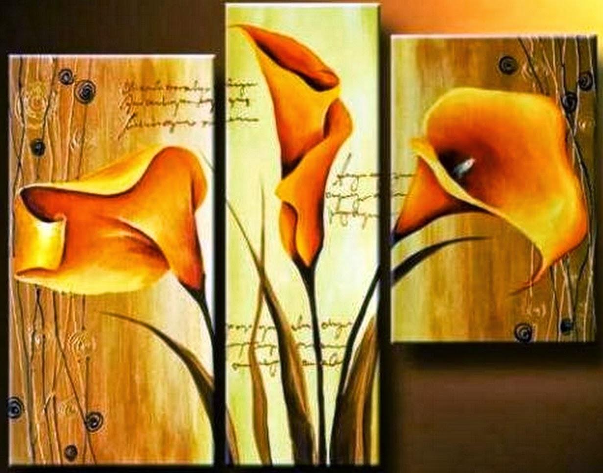 Cuadros modernos pinturas y dibujos cuadros tripticos en flores for Imagenes de cuadros abstractos tripticos