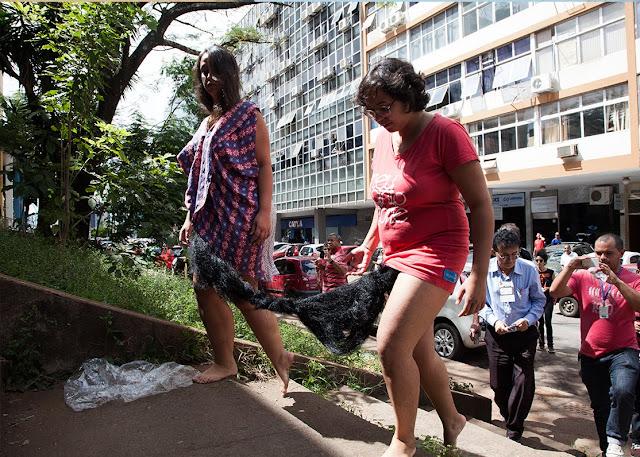 """Mulheres costuram """"pelos pubianos"""" gigante em performance """"artística"""" e desfilam por Brasília"""