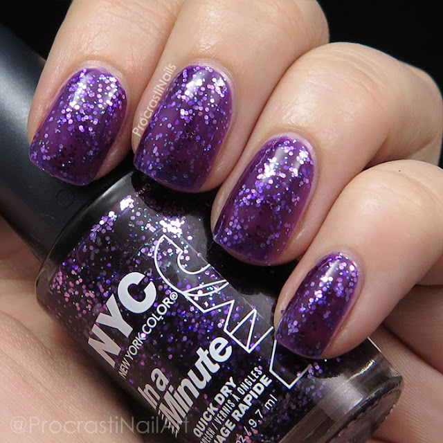 Swatch of the purple New York Color NY Princess glitter jelly polish