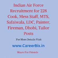 Indian Air Force Recruitment for 228 Cook, Mess Staff, MTS, Safaiwala, LDC, Painter, Fireman, Dhobi, Tailor Posts
