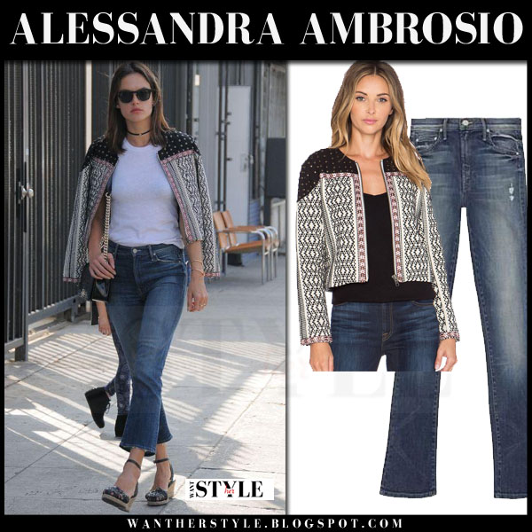 Alessandra Ambrosio in cropped flared mother jeans what she wore model style