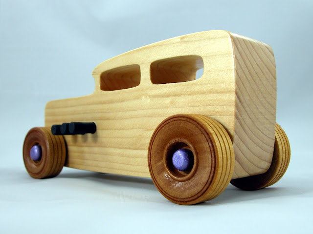 Wooden Toy Car - Hot Rod Freaky Ford - 1932 Ford Sedan - Satin Polyurethane - Amber Shellac - Purple - Black - Pine