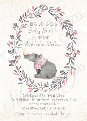 Floral Watercolor Wreath and Rhinoceros Custom Baby Girl Shower Sprinkle Invitation - Grey Rhino Pink Peach Lavender Purple Flower Matching Back Floral zoo jungle animal safari sweet soft