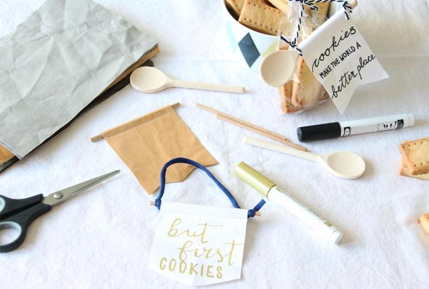binedoro Blog, DIY-Food-Verpackung, kleine Wimpel, Kochlöffel, basteln, Anhänger