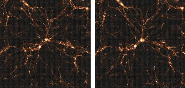 The weak lensing surveys such as HSC prefer a slightly less clumpy Universe (left) than that predicted by Planck (right). The pictures show the slight but noticeable difference as expected from large computer simulations. Credit: Hyper Suprime-Cam Survey
