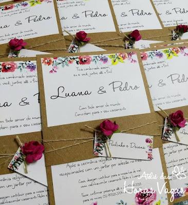 convite de casamento artesanal personalizado rústico papel kraft estampa floral aquarelada pink cores vivas alegres
