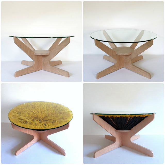 Coffee table with a juju hat in the middle, exclusively designed by Kronbali