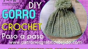 Patrones de Gorro Tejido a Crochet con Video Tutoriales en Español